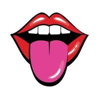 bouche pop art avec style de remplissage de la langue vecteur