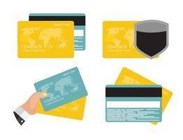 ensemble de collection de concept plat icône carte de crédit vecteur