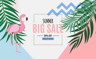fond abstrait de vente d'été avec des feuilles de palmier et flamant rose vecteur