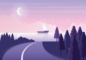 Illustration de beau paysage marin de vecteur
