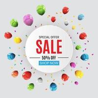 bannière de vente design abstrait avec des ballons vecteur