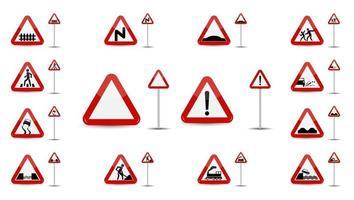 Un ensemble de panneaux d'avertissement dans le triangle rouge est un aperçu de différents types de signes spéciaux pour les conducteurs de voiture vecteur