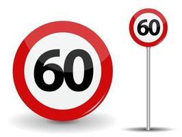 Panneau routier rouge rond limite de vitesse 60 kilomètres par heure vecteur