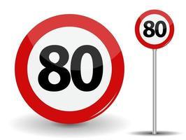Panneau routier rouge rond limite de vitesse 80 kilomètres par heure vecteur