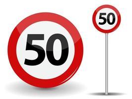 Panneau routier rouge rond limite de vitesse 50 kilomètres par heure vecteur