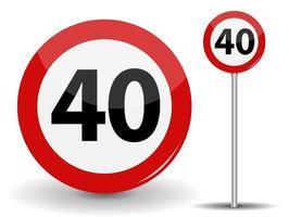 Panneau routier rouge rond limite de vitesse 40 kilomètres par heure vecteur