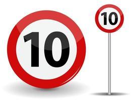 Panneau routier rouge rond limite de vitesse 10 kilomètres par heure vecteur