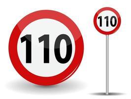 Panneau routier rouge rond limite de vitesse 110 kilomètres par heure vecteur