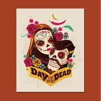 Couple de fête du jour de la mort vecteur