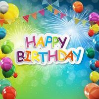 groupe de fond de ballons d'hélium brillant de couleur. ensemble de ballons et de drapeaux pour la célébration d'anniversaire, décorations de fête vecteur