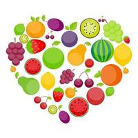 pomme, orange, prune, cerise, citron, citron vert, pastèque, fraises, kiwi, pêches, raisins et poire en forme de coeur vecteur