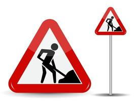 panneau routier avertissement travaux routiers vecteur