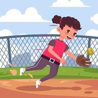 fille jouant au softball vecteur