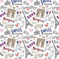 Modèle sans couture de Paris avec des éléments de croquis dessinés à la main. vecteur