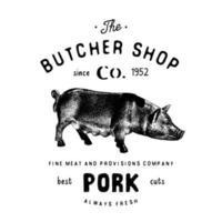 boucherie emblème vintage produits de viande de porc, style rétro de modèle de logo de boucherie. design vintage pour le logo, l'étiquette, le badge et la conception de la marque. illustration vectorielle isolée sur blanc vecteur