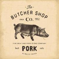 boucherie emblème vintage produits de viande de porc, style rétro de modèle de logo de boucherie. design vintage pour le logo, l'étiquette, le badge et la conception de la marque. illustration vectorielle vecteur