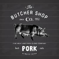 boucherie emblème vintage produits de viande de porc, style rétro de modèle de logo de boucherie. design vintage pour le logo, l'étiquette, le badge et la conception de la marque. illustration vectorielle sur tableau noir vecteur