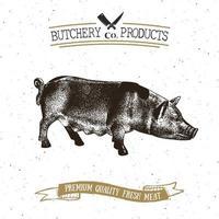 boucherie emblème vintage produits de viande de porc, style rétro de modèle de logo de boucherie. design vintage pour le logo, l'étiquette, le badge et la conception de la marque. illustration vectorielle. vecteur