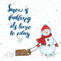 citation de lettrage de saison d'hiver sur la neige. signe de calligraphie manuscrite. illustration vectorielle dessinés à la main avec bonhomme de neige, isolé sur blanc. vecteur