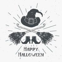 étiquette vintage de carte de voeux halloween, éléments de sorcière croquis dessinés à la main, badge rétro texturé grunge, impression de t-shirt de conception de typographie, illustration vectorielle vecteur