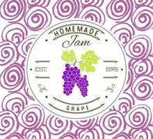 modèle de conception d'étiquette de confiture. pour le produit de dessert de raisin avec des fruits et des arrière-plans dessinés à la main. Doodle vecteur identité de marque illustration de raisin