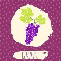 fruit dessiné à la main de raisin avec feuille sur fond avec motif de points. Doodle vecteur raisin pour logo, étiquette, identité de marque