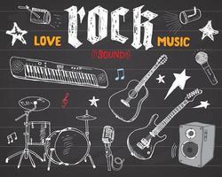 ensemble d'instruments de musique. croquis dessiné à la main, illustration vectorielle sur tableau noir. vecteur