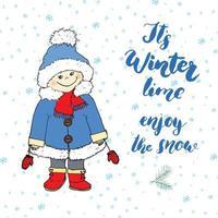 citation de lettrage de saison d'hiver. signe de calligraphie manuscrite. illustration vectorielle dessinés à la main avec une fille portant des vêtements chauds, isolé sur blanc. vecteur