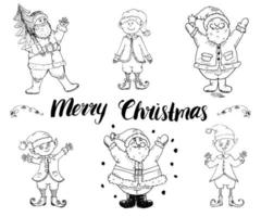 Père Noël et elfes, ensemble dessiné à la main de gnomes. lettrage de joyeux Noël. illustration vectorielle isolée sur blanc. vecteur