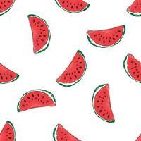 illustration vectorielle de melon d'eau dessinés à la main modèle sans couture. vecteur