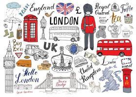 collection d'éléments de griffonnages de la ville de Londres. dessinés à la main sertie de, pont de la tour, couronne, big ben, garde royale, bus rouge et taxi, carte et drapeau du Royaume-Uni, théière, lettrage, illustration vectorielle isolée vecteur