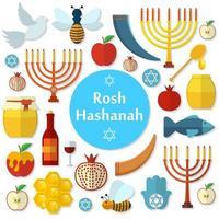 rosh hashanah, jeu d'icônes vectorielles plat shana tova vecteur