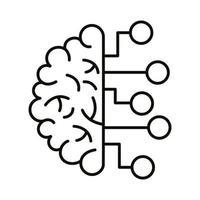 cerveau humain avec icône de style de ligne infographique vecteur