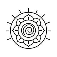 icône de style de ligne fleur de lotus vecteur