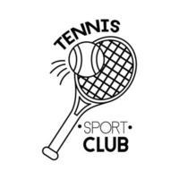 balle et raquette tennis sport icône de style de ligne vecteur