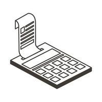 calculatrice isolée avec conception de vecteur d'icône de style de ligne de réception