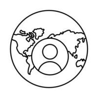 monde planète terre avec continents et icône de style de ligne utilisateur vecteur