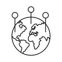 monde planète terre avec continents avec icône de style de ligne de localisation de points vecteur