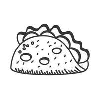 taco main dessiner et conception de vecteur d'icône de style de ligne