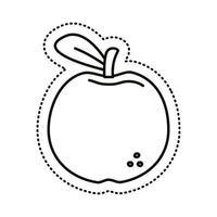 icône de style de ligne autocollant apple vecteur