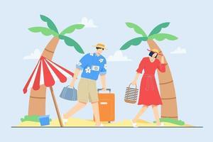 vacances d & # 39; été en famille à la scène d & # 39; illustration vectorielle plage vecteur
