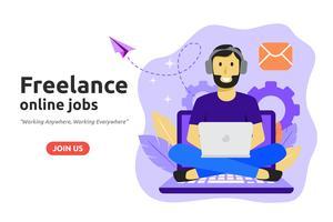 Concept de création d'emploi en ligne freelance. Freelancer développe des affaires vecteur