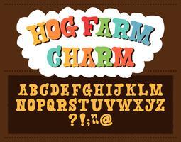alphabet serif de dessin animé dessiné à la main vecteur