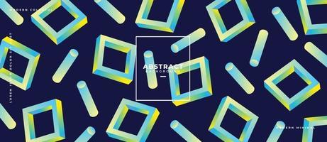 Rectangle 3d géométrique abstrait et gravité en forme de cube qui coule sur fond bleu foncé vecteur