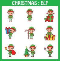 noël, mignon, elfe, vecteur, illustration Clipart vecteur