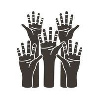 mains, les humains, protestant, silhouette, style, icône vecteur