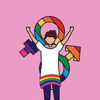protestation de femme lesbienne avec des couleurs de genre vecteur