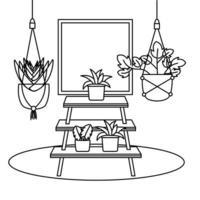 plantes à l & # 39; intérieur de pots et conception de vecteur de meubles