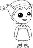 Coloriage pour enfants elfe idéal pour un livre de coloriage pour débutant vecteur