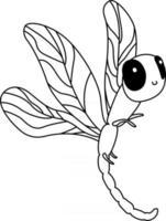 Coloriage libellule pour enfants idéal pour un livre de coloriage pour débutant vecteur